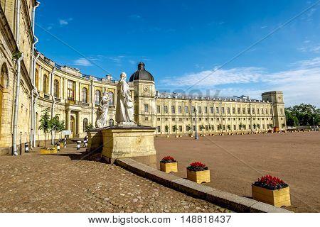 Gatchina.Russia.26 Jun 2016.Statues near the ensemble of Gatchina Palace.