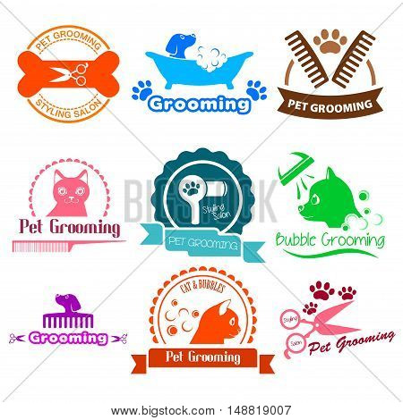 A vector illustration of Pet Grooming Service Business Logos