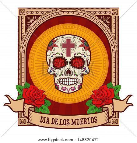 day of the dead. Sugar skull in vintage frame. Vector illustration.