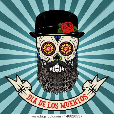 day of the dead. dia de los muertos. Sugar skull with beard and hat on vintage background with banner. Vector illustration.