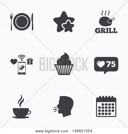 Food and drink icons. Muffin cupcake symbol. Plate dish with fork and knife sign. Hot coffee cup. Flat talking head, calendar icons. Stars, like counter icons. Vector