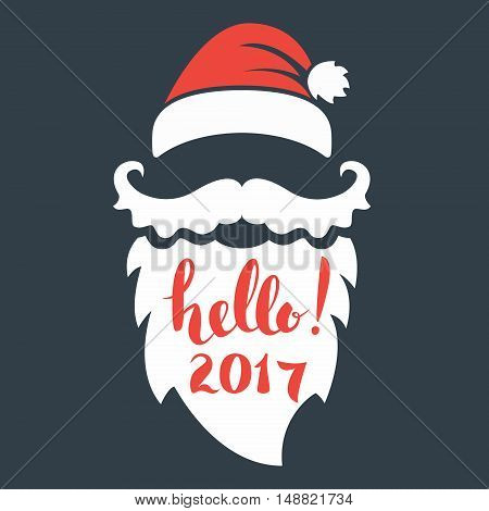 Santa beard with lettering. Hello 2017. Happy New Year. Merry Christmas.