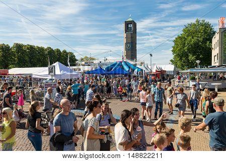 EMMELOORD THE NETHERLANDS - SEP 10: Visitors at an agricultural potato festival on September 10 2016 in Emmeloord capitial city of Noordoostpolder the Netherlands
