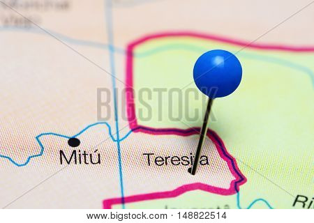 Teresita pinned on a map of Colombia