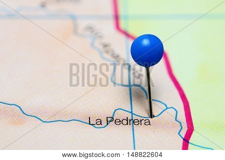 La Pedrera pinned on a map of Colombia