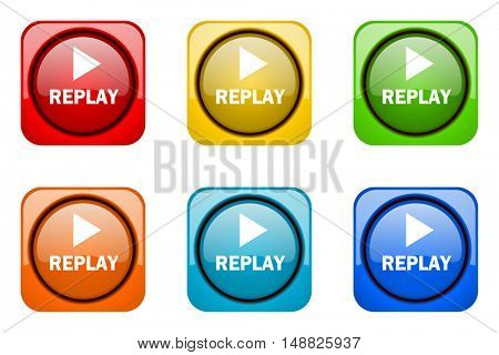 replay colorful web icons