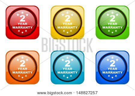 warranty guarantee 2 year colorful web icons
