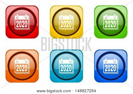 new year 2020 colorful web icons