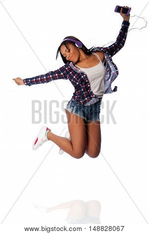 Jumping Happy Dancing Listening To Music