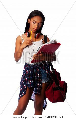 Student With Notepad Binders Thinking