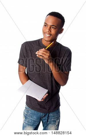 Happy Student With Notepad