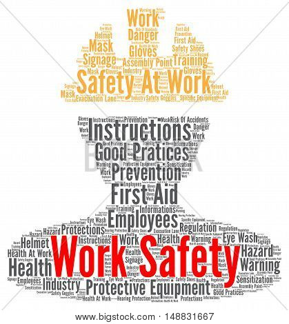 Work safety word cloud concept with a white background