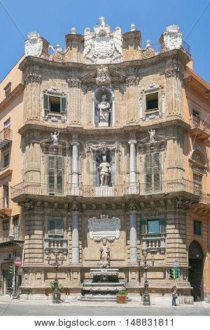 One part of the four corner houses on the Central square of Quattro Canti di Citta in Palermo, Sicily, Italy