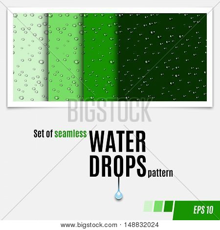 Set of water transparent drops seamless pattern. Rain drops. Condensed water background. Water drops scattered across the surface. Water drops seamless background. Vector illustration