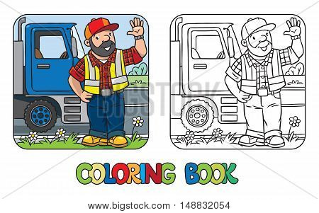 Coloring book of funny driver or worker. A man dressed in a plaid shirt, vest with reflective stripes and jeans, standing near the truck on the road. Profession series. Childrens vector illustration.