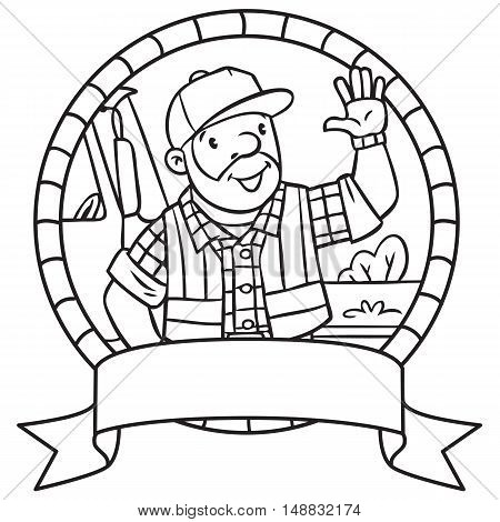 Emblem or coloring book of funny driver or worker. A man dressed in a plaid shirt, vest with reflective stripes and jeans Profession series. Childrens vector illustration.