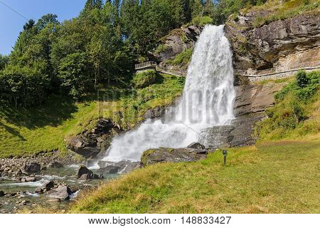 Steinsdalsfossen waterfall and river in Hordaland Norway