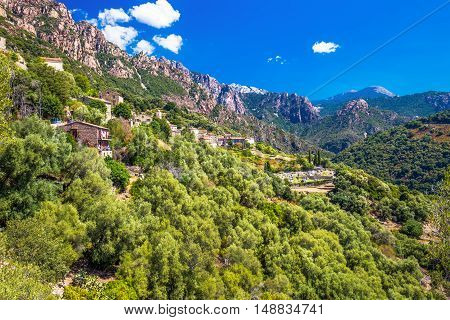 Ota town with the mountains in the background near Evisa and Porto Corsica France.
