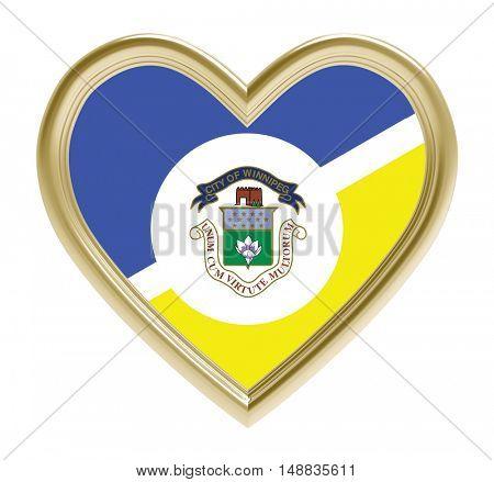 Winnipeg flag in golden heart isolated on white background. 3D illustration.