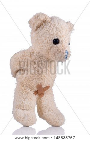 Toy bear with adhesive bandages on his private parts hands behing back