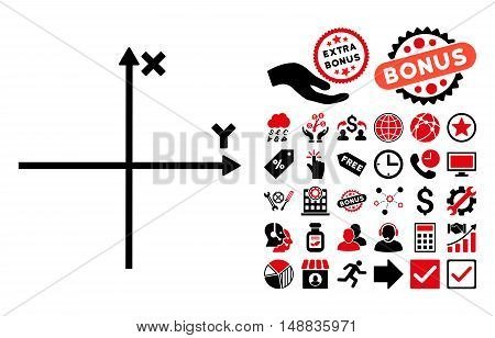 Cartesian Axes pictograph with bonus icon set. Vector illustration style is flat iconic bicolor symbols, intensive red and black colors, white background.