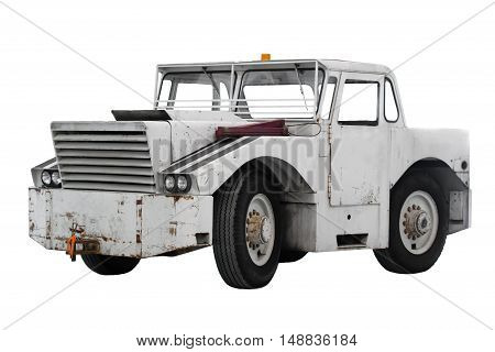Large tug truck isolated on white background