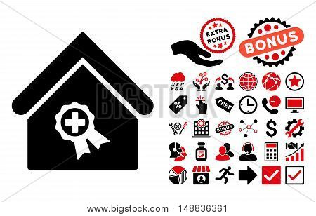 Certified Clinic Building icon with bonus pictogram. Vector illustration style is flat iconic bicolor symbols, intensive red and black colors, white background.