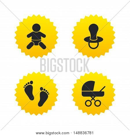 Baby infants icons. Toddler boy with diapers symbol. Buggy and dummy signs. Child pacifier and pram stroller. Child footprint step sign. Yellow stars labels with flat icons. Vector