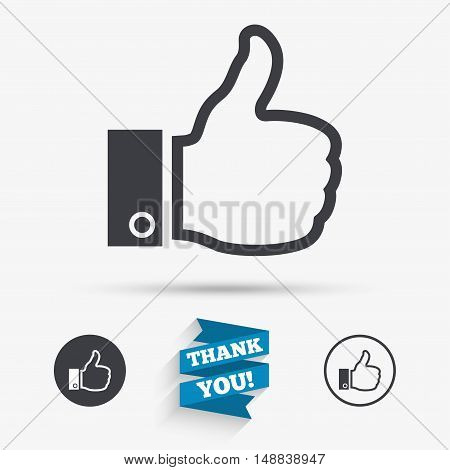 Like sign icon. Thumb up sign. Hand finger up symbol. Flat icons. Buttons with icons. Thank you ribbon. Vector