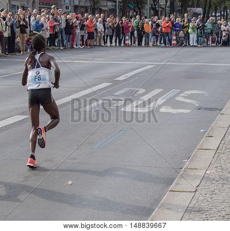 BERLIN GERMANY - SEPTEMBER 25 2016: Kenyan Runner Janet Ronoh At Berlin Marathon 2016
