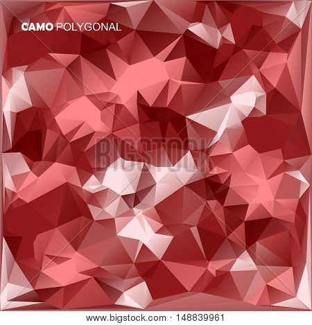 Abstract Vector Military Camouflage Background Made of Geometric Triangles Shapes. red