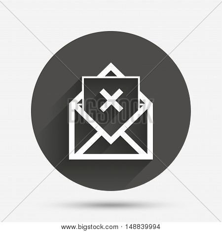 Mail delete icon. Envelope symbol. Message sign. Mail navigation button. Circle flat button with shadow. Vector