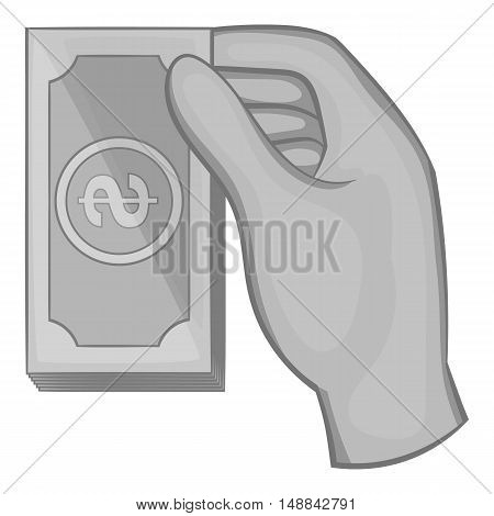 Hand holding a wad of money icon in black monochrome style isolated on white background. Finance symbol vector illustration