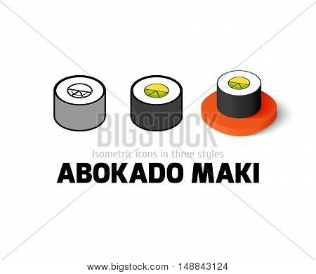 Abokado maki icon, vector symbol in flat, outline and isometric style