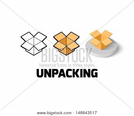 Unpacking icon, vector symbol in flat, outline and isometric style