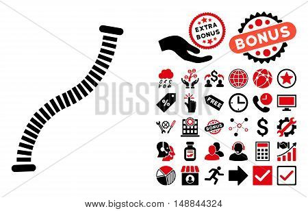 Flexible Pipe pictograph with bonus pictogram. Vector illustration style is flat iconic bicolor symbols intensive red and black colors white background.