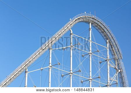 Empty roller coaster loop at amusement park