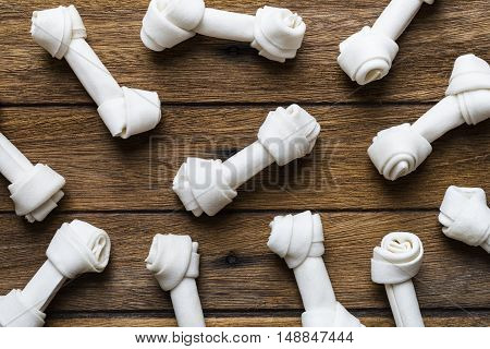 dog bone on old wooden table background