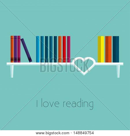 Bookshelf Vector illustration The books are on the white bookshelf decorated in the form of heart Flat design