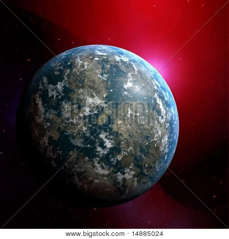 Illustration of planet earth on colored background