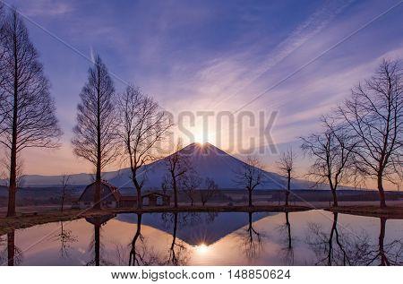 Fuji Daimond Sunrise at Top of Mt. Fuji in winter