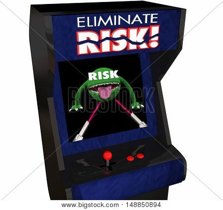 Eliminate Risk Reduce Danger Security Safety Arcade Game 3d Illustration