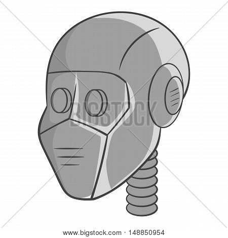 Robot head icon in black monochrome style isolated on white background. Technology symbol vector illustration