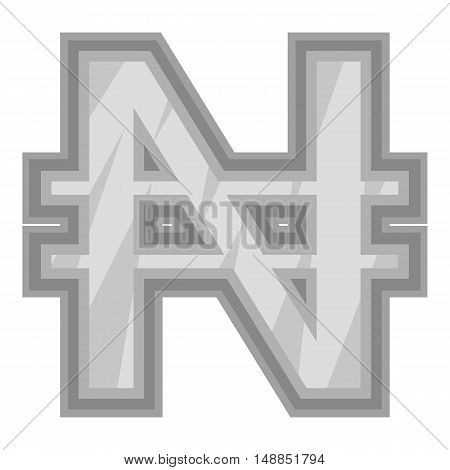 Sign of money naira icon in black monochrome style isolated on white background. Currency symbol vector illustration