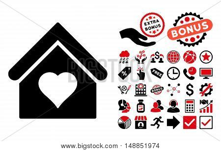 Love House icon with bonus clip art. Vector illustration style is flat iconic bicolor symbols intensive red and black colors white background.