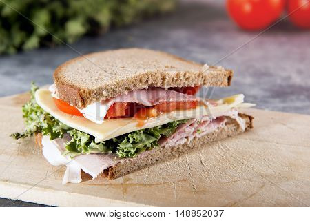 Fresh Sandwich With Ham And Vegetables