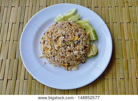 fried mixed white and brown rice with crab meat on dish