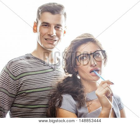 love affair at work, young pretty couple, man and woman together isolated on white background, office clerk, secretary seduces boss, lifestyle concept close up