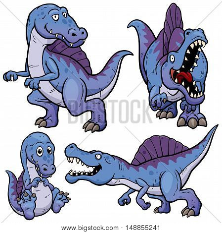 Vector illustration of Dinosaurs Cartoon Character Set
