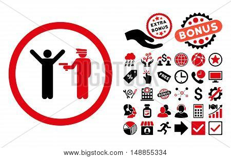 Police Arrest icon with bonus pictograph collection. Vector illustration style is flat iconic bicolor symbols intensive red and black colors white background.